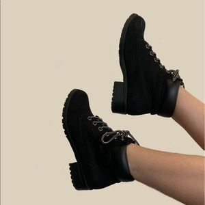 Simple Black Lace-Up Booties Barely Worn !!